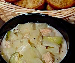 Salmon Chowder with Pineapple Bran Muffins