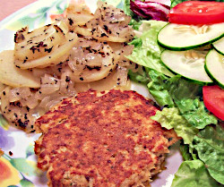 Recipe for Salmon Patty with Oven-Seasoned Potatoes