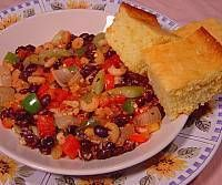 Shrimp Creole and Black Beans with Cheesy Cornbread