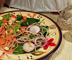 Thai Peanut Chicken with Spinach Salad