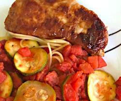 Zucchini Pasta and Pork Chops