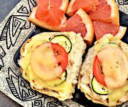 Zucchini and Tomato Tuna Melt Sandwich